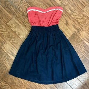 Strapless denim and coral dress
